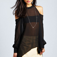Isabella High Neck Cut Out Blouse