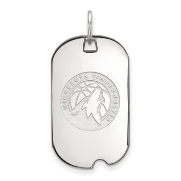 NBA Minnesota Timberwolves Sterling Silver Small Dog Tag Necklace