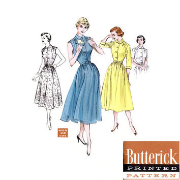 1950s Shirtwaist Dress Pattern Butterick 5641 Bust 36 Fit and Flare Full Skirt Peter Pan Collar Rockabilly Womens Vintage Sewing Pattern
