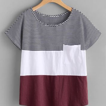 Patch Pocket Front Cut And Sew T-shirt BURGUNDY