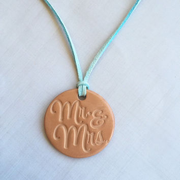 Mr & Mrs Newlywed Terracotta Clay Diffuser Necklace - Essential Oils - Faux Suede Cord -Terra Cotta Clay Pendant Aromatherapy Just Married