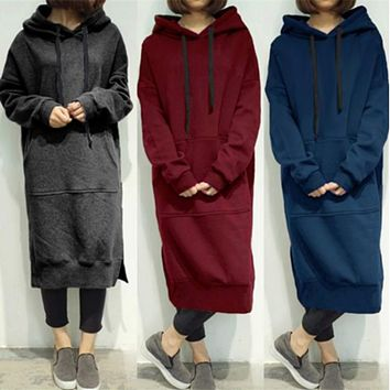 Women's Casual Loose Long Hoodies Sweatshirt Outerwear Jacket Tunic Coat Dress
