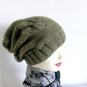 knit HAT BEANIE Hat Beanie Chunky Knit cable Hat Knitted Winter knit cap braids Unisex OLIVE mens knit beanie women hat