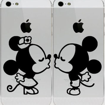Mickey and Minnie decal - 2 piece Mickey and Minnie Mouse inspired vinyl decal set for his and her phones