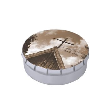 Old Church Candy Sepia 75th Birthday Party Favor Jelly Belly Candy Tin