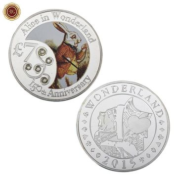 WR Alice In Wonderland Challenge Coin 999.9 Silver Plated Metal Coins Home Decorative 999.9 Silver Metal Crafts