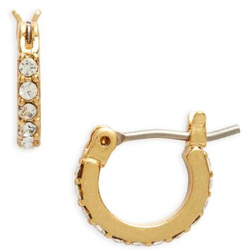 Madewell Delicate Pavé Crystal Hoop Earrings | Nordstrom