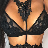 Black Halter Sheer Mesh Embroidery Strappy Cropped Bralette