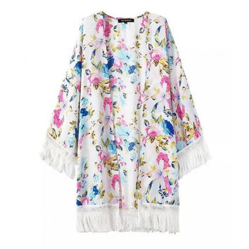 Stylish Ladies Women Print Kimono Style Sheer Chiffon Tassel Cardigan