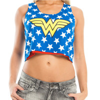 Wonder Woman Mesh Cropped Tank Top