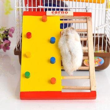 Nature Wooden Colorful rainbow  Hamster Climbing Ladder bed steps stairs Pet Hamster toy playground hamster accessories