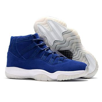 New Arrival Jordan Retro 11 XI Men Basketball shoes Navy suede Breathable Athletic Outdoor Sport Sneakers EUR SIZE 40-46