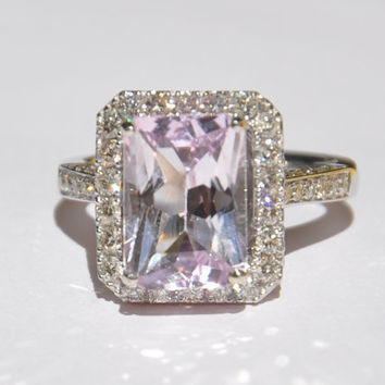 Natural Untreated 520 CT Kunzite & Diamond Ring by bluefirejewelry