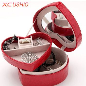 Heart Shape Jewelry Display Box Crocodile Pattern PU Leather Jewellery Storage Organizer Detachable Display Casket