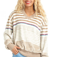 Vintage 70's Freaks & Geeks Velour Striped Pullover - One Size Fits Many