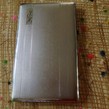 "Vintage Silver Tone Metal Cigarette Case by ""POLO"". Era 1950's. Great Condition."