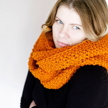 Infinity scarf orange chunky and hand knitted in nib pattern