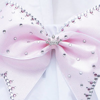 Cheer bow - Choose your color princess bow with a tiara crown center and hand set rhinestones.cheerleader bow - dance bow -cheerleading bow