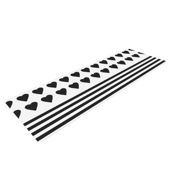 "Project M ""Heart Stripes Black and White"" Monochrome Lines Yoga Mat"