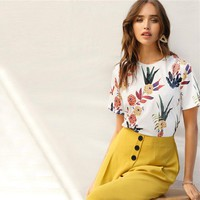 Floral Plants Print Women Shirts Short Sleeve Casual Basic Streetwear Pullovers T Shirt Tops
