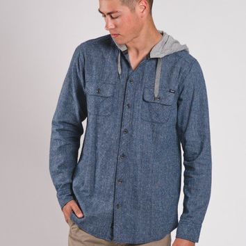 MENS INDIGO HOODIE X-HATCH BUTTON UP SHIRT
