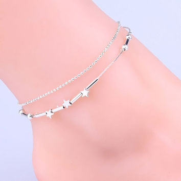 1PC Sterling Silver Plated Star Bead Chian Double Layer Foot Ankle Bracelet Anklet Foot Jewelry = 5658244609
