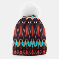 K172 Wood and Turquoise Abstract Beanie, Live Heroes