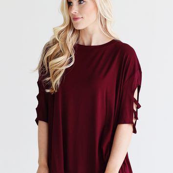 Burgundy PIKO 3/4 Ladder Sleeve Top