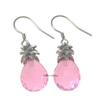 FACETED PINK CRYSTAL HAWAIIAN PINEAPPLE HOOK EARRINGS 925 STERLING SILVER 10MM
