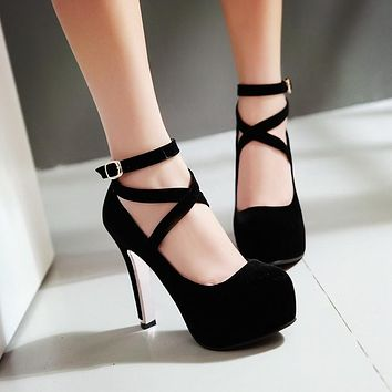 Women Platform Pumps Ankle Straps High Heels Shoes Woman 5602