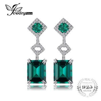 JewelryPalace Elegant 6.3ct Nano Russian Simulated Emerald Drop Earrings Fashion Jewelry 100% 925 Sterling Silver Vintage Gift