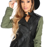 Forest Green Faux Leather Moto Jacket