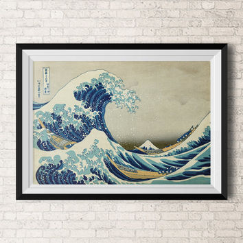 Japanese wall paintings - Wall Art-Home Decor - Art Wall Prints -Vintage Inspired Illustration - Poster - Mount Fuji- Wale  - Wall Hanging