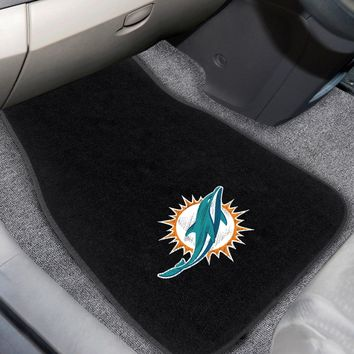 Miami Dolphins 2-piece Embroidered Car Mats 18x27