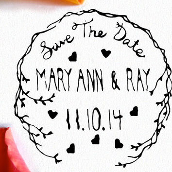 Save The Date Pre Inked Stamp- Wedding Invitations- Custom Hand Drawn Rustic 2