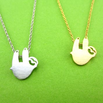 Dangling Sloth Silhouette Shaped Animal Pendant Necklace in Gold or Silver