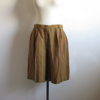 Russet 80s Linen Shorts Vintage 80s Anne Klein II Striped Cafe Linen Shorts 14