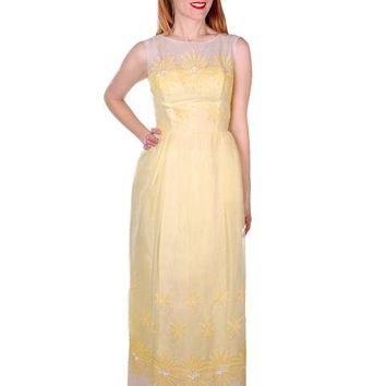 Vintage Yellow Formal Dress Embroidered Nylon Chiffon 1960s 35-26-47
