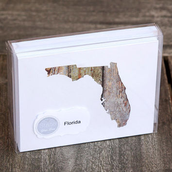 Florida or any US state shape map cutout wood texture photography blank note cards. Box/12. Die cut, Thank You, Country Chic, Rustic