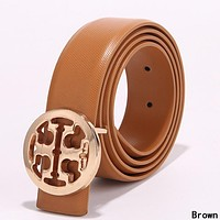 Tory Burch Fashion Woman Men Circular Smooth Buckle Leather Belt Brown