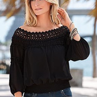 SIMPLE - Women Chiffon Loose Off Shoulder Neckline Top T-Shirt a10837