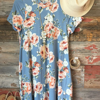 Baby Blues Floral Pocket Dress