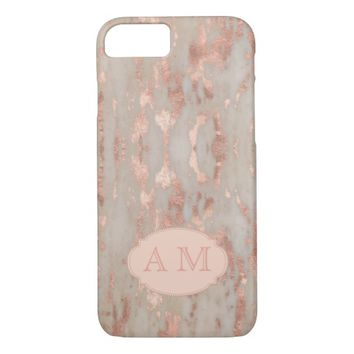 Elegant Marble and Copper Custom Monogram iPhone 7 Case