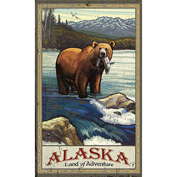 Personalized Alaska Land Of Adventure Wood Sign