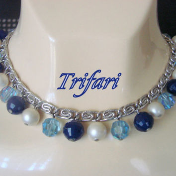 Vintage Trifari Blue Crystal Simulated Pearl Bead Necklace / Designer Signed / Silver Tone / Jewelry Jewellery
