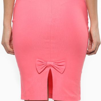 Coral High Waisted Bow Pencil Skirt @ Cicihot Pants Online Store: sexy pants,sexy club wear,women's leather pants, hot pants,tight pants,sweat pants,white pants,black pants,baggy pants