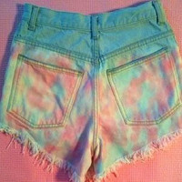 Destroyed grunge Cotton Candy studded high waisted shorts