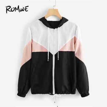 ROMWE Zipper Color Block Drawstring Hem Hooded Bomber Jacket Women Casual Clothing Coats Spring Multicolor Outerwear