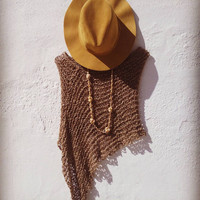 Boho chic poncho , summer knit poncho, beach boho cover, brown knit wrap, women ponchos