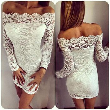 LMFON Fashion Solid Color Lace Off Shoulder Long Sleeve Mini Dress